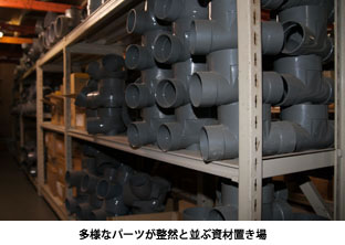多様なパーツが整然と並ぶ資材置き場