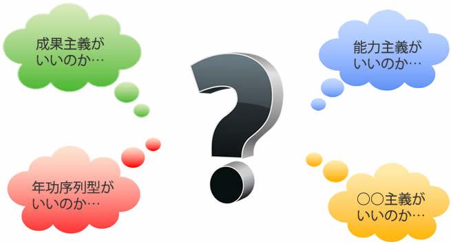 成果主義がいいのか。能力主義がいいのか。年功序列型がいいのか。○○式がいいのか。