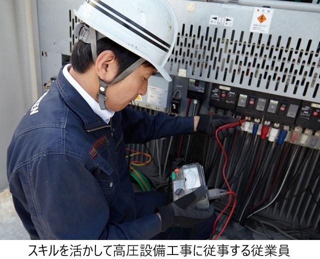 スキルを活かして高圧設備工事に従事する従業員